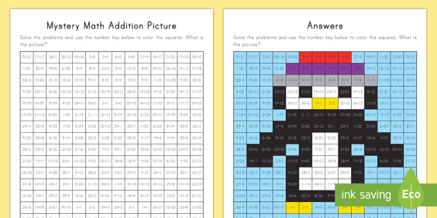 Mystery Math Addition Picture Activity - Mystery Math Pictures, addition maths, addition calculations, addition up to 100, mental maths, ment