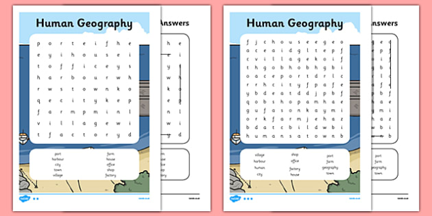 Human Geography Word Search - human, geography, word, search