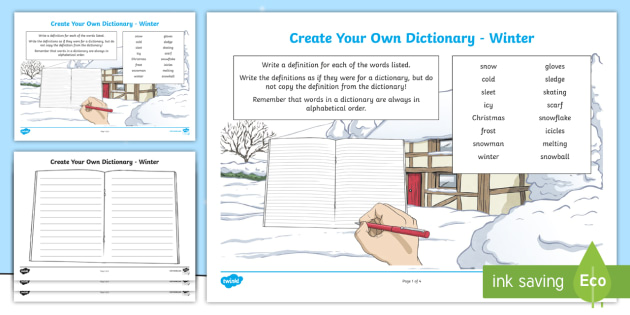 Winter Key Vocabulary Create Your Own Dictionary - Vocabulary Development, reading for information, define, definitions, alphabetical order,Scottish