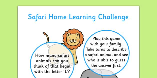 Safari EYFS Home Learning Challenge Sheet Nursery FS1 - safari, eyfs, home learning