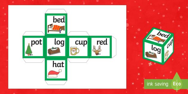 Christmas CVC Words Dice