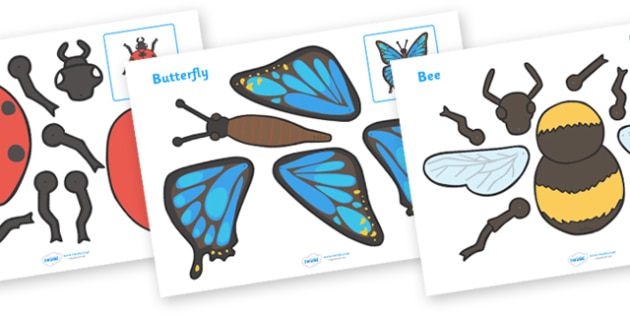 Minibeasts Split Pin Characters - education, home school, free