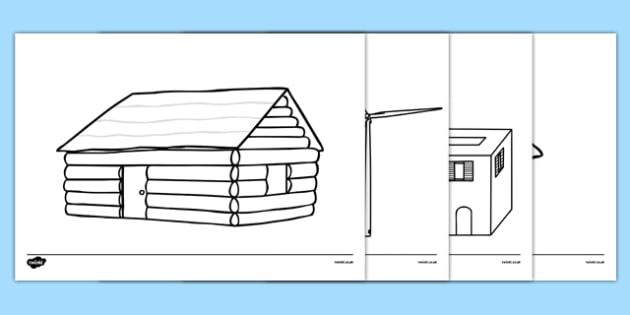 Homes Around the World Colouring Sheets house home building