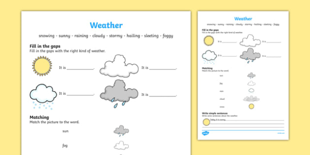 Weather Activity Sheet, worksheet