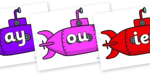 Phase 5 Phonemes on Submarines - Phonemes, phoneme, Phase 5, Phase five, Foundation, Literacy, Letters and Sounds, DfES, display