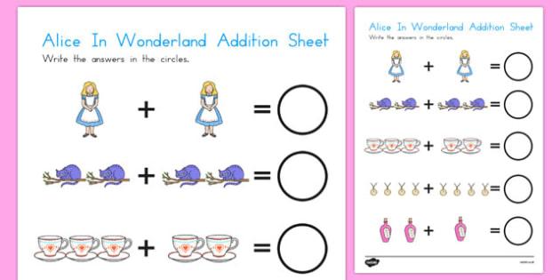 Alice in Wonderland Addition Sheet - australia, alice in wonderland