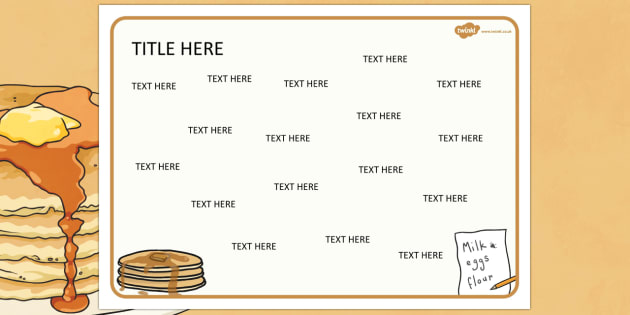 Pancake Day Themed Editable Word Mat - literacy, writing, words