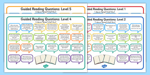 Levelled Guided Reading Questions Mats Arabic Translation - arabic, books, question, level