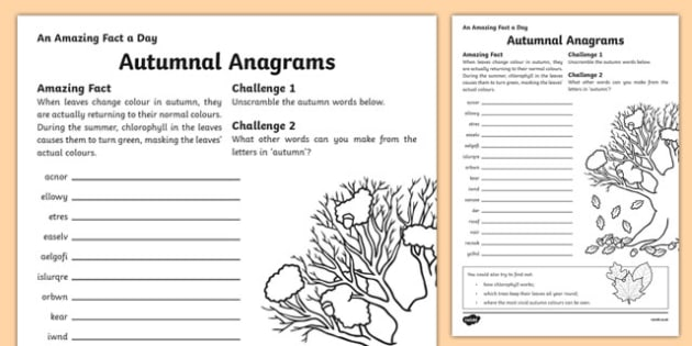 Autumnal Anagrams Activity Sheet, worksheet