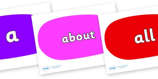 100 High Frequency Words on Speech Bubbles (Multicolour) - High frequency words, hfw, DfES Letters and Sounds, Letters and Sounds, display words