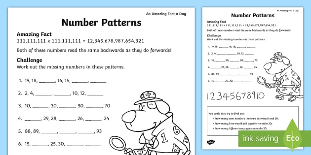 Number Patterns Activity Sheet - july, amazing fact, numbers