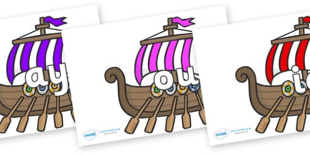 Phase 5 Phonemes on Viking Longboats - Phonemes, phoneme, Phase 5, Phase five, Foundation, Literacy, Letters and Sounds, DfES, display