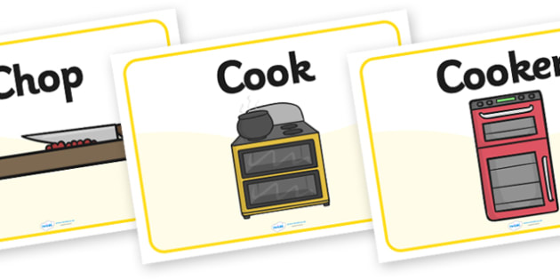 Cooking Area Word Posters - Cooking Area, Display Words, Cooking, Cooker, Microwave, Bowl, Spoon, recipe, hob, dough, measure, knead