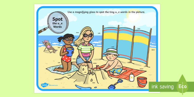Phase 5 u-e Words Beach Scene Magnifying Glass Activity Sheet - phonics, letters and sounds, phase 5, u-e sound, magnifier, magnifying glass, find, activity, group,
