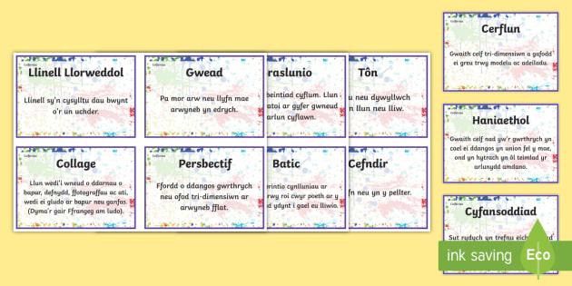 Celfeiriau Arwyddion a Labeli - Celfeiriau - Art Resources for Welsh Medium Schools, Celf, arddangos, geirfa, Iaith, Cymraeg, dosbar