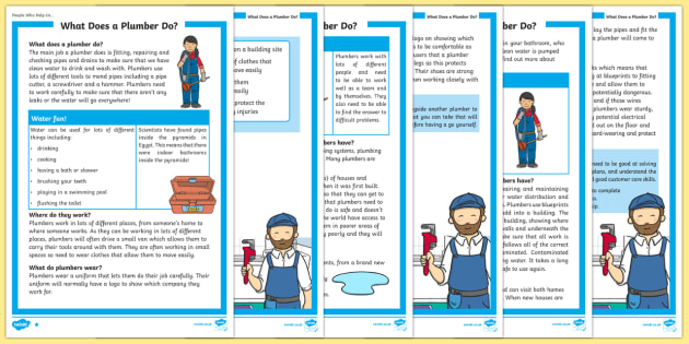 What Does A Plumber Do? Differentiated Reading Comprehension Activity