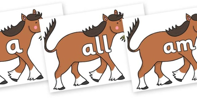 Foundation Stage 2 Keywords on Hullabaloo Carthorse to Support Teaching on Farmyard Hullabaloo - FS2, CLL, keywords, Communication language and literacy,  Display, Key words, high frequency words, foundation stage literacy, DfES Letters and Sounds, L