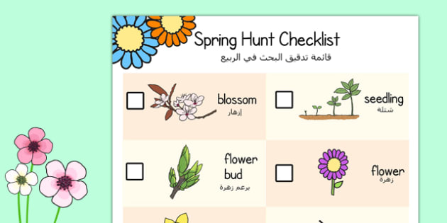Spring Hunt Checklist Arabic Translation - arabic, spring, seasons, easter, hunt, easter hunt, objects hunt, can you see?, spring sensory walk checklist, walk checklist, spring walk checklist, spring hunt, spring search