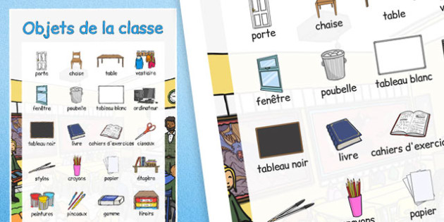 Objets de la classe Large Display Poster French - french, classroom objects, large, display poster, display, poster