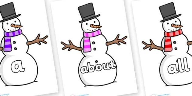 100 High Frequency Words on Snowman - High frequency words, hfw, DfES Letters and Sounds, Letters and Sounds, display words
