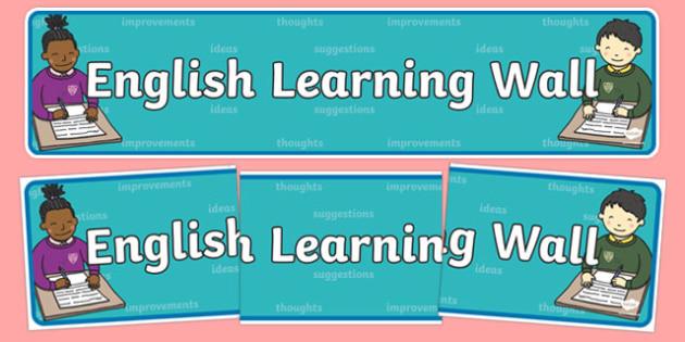 English Learning Wall Display Banner - literacy, header, display