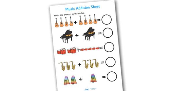 Music Addition Sheet - music themed, addition sheet, addition, addition worksheet, music themed worksheet, music themed addition sheet