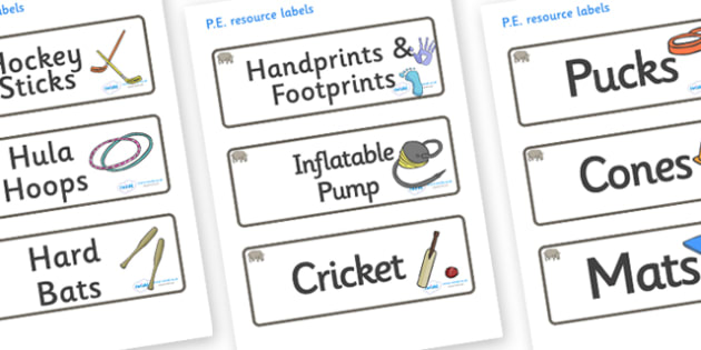 Rhino Themed Editable PE Resource Labels - Themed PE label, PE equipment, PE, physical education, PE cupboard, PE, physical development, quoits, cones, bats, balls, Resource Label, Editable Labels, KS1 Labels, Foundation Labels, Foundation Stage Labe