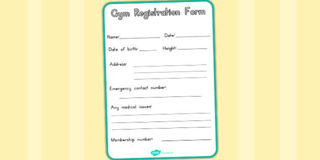 Gym Role Play Registration Form (Australia) - forms, application