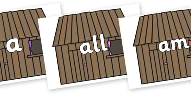 Foundation Stage 2 Keywords on Wooden Houses - FS2, CLL, keywords, Communication language and literacy,  Display, Key words, high frequency words, foundation stage literacy, DfES Letters and Sounds, Letters and Sounds, spelling