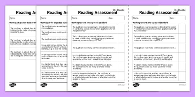 KS1 Reading Exemplification Checklist - ks1, reading, exemplification, checklist