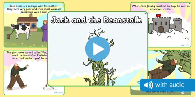 Jack and the Beanstalk Narrated Story - audio book, narrative, narration, spoken, told, traditional tale, ks1, key stage 1, early years, topic, english, literacy, book,