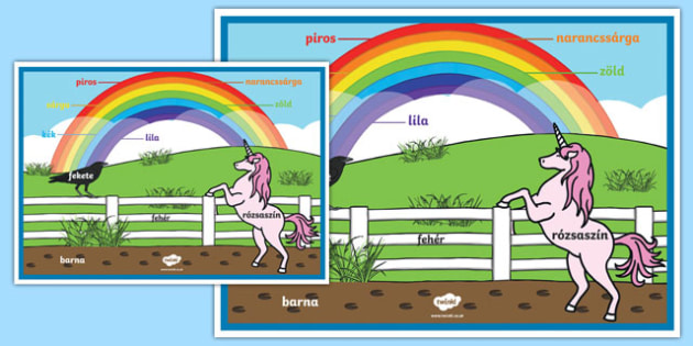 Rainbow Colours Hungarian A2 Display Poster