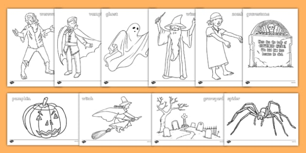 Halloween Colouring Pictures - education, home school, free, fun