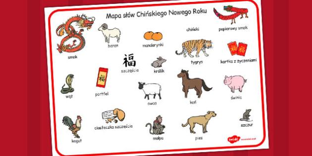 Chinski Nowy Rok - plansza ze slownictwem, znaki, chinskie swieta, Polish