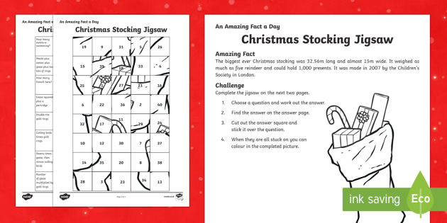Amazing Fact a Day KS2 Countdown to Christmas Day 24 Twelve Days of Christmas Jigsaw Activity Sheet - Amazing Fact Of The Day, activity sheets, powerpoint, starter, worksheet, morning activity, December