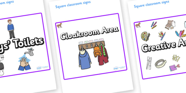 Pony Themed Editable Square Classroom Area Signs (Plain) - Themed Classroom Area Signs, KS1, Banner, Foundation Stage Area Signs, Classroom labels, Area labels, Area Signs, Classroom Areas, Poster, Display, Areas