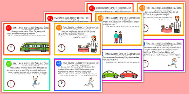 Time, Length and Capacity Problem-Solving Challenge Cards Arabic Translation - time, clock, measure, capacity, volume, ssm, measurement, ks1, maths, challenges, problems, arabic, eal