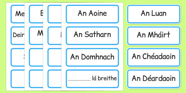 Days of the Week, Months of the Year Labels Gaeilge - gaeilge, days, week, months, year, labels