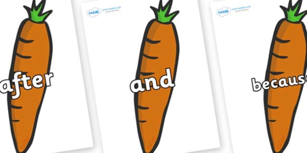 Connectives on Carrots - Connectives, VCOP, connective resources, connectives display words, connective displays