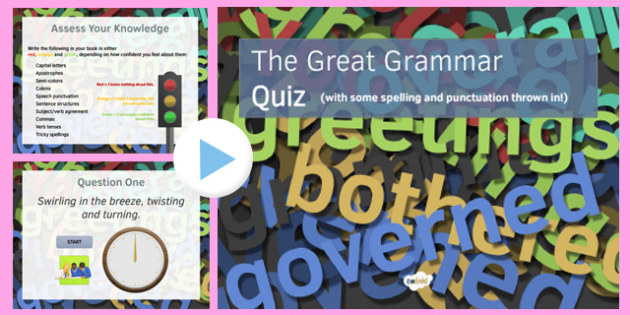 The Great Grammar Quiz PowerPoint - great grammar quiz, powerpoint, grammar, quiz