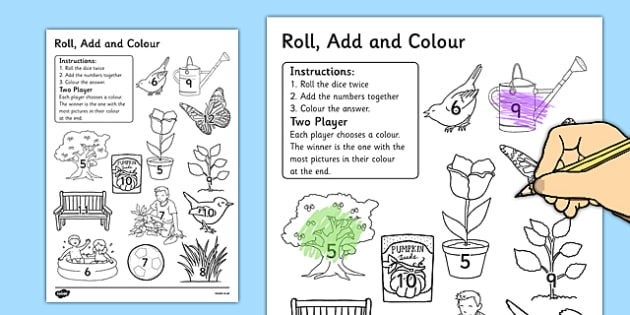 Garden Colour and Roll Worksheet - garden, colour, roll, worksheet, back garden, outside