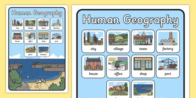 Human Geography Word Grid - geography, human, word grid, words
