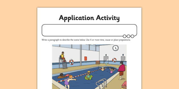 Prepositions Application Activity Sheet - GPS, sentence, place, time, cause, worksheet