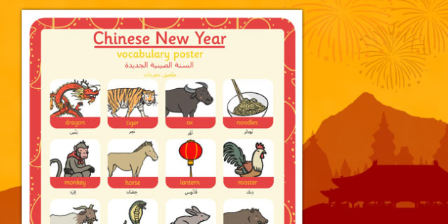 Chinese New Year Themed Vocabulary Poster Arabic Translation - arabic, chinese new year, themed, vocabulary, poster, display