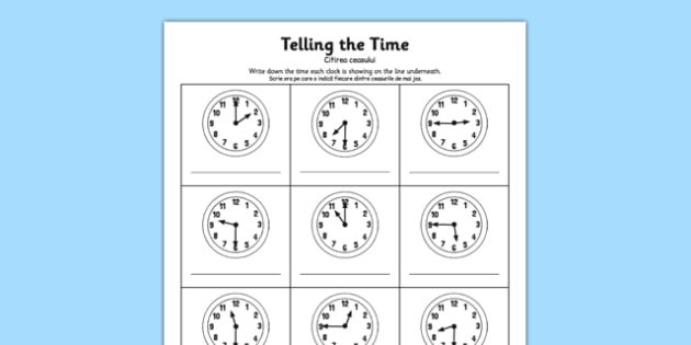 O'clock Half Past and Quarter To Times Activity Sheet Romanian Translation - romanian, o'clock, half past, quarter to, times, activity, worksheet
