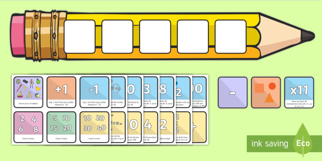Maths Large Pencil Target Cards - skills, targets, aims, next steps, maths, calculations, working wall