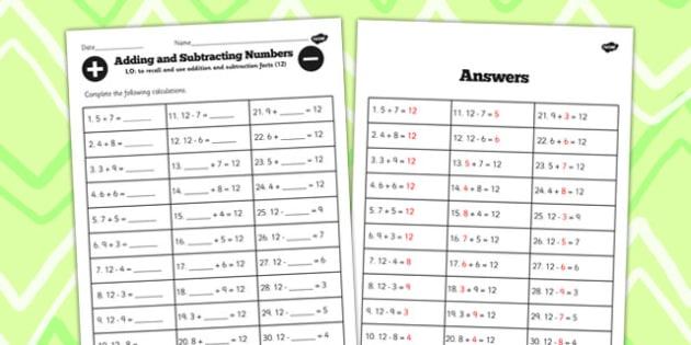 Number Facts to 12 Worksheet - number, facts, worksheet, 12, math