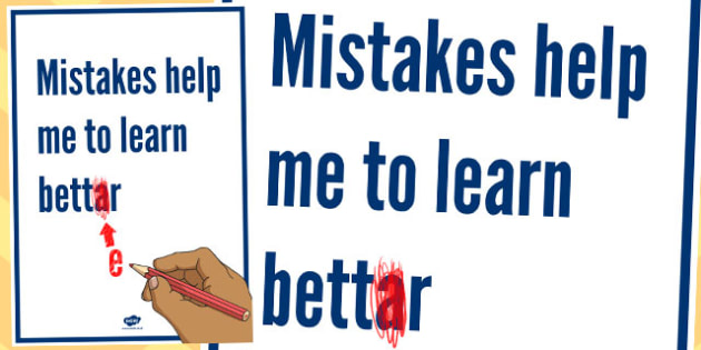 Mistakes Help Me to Learn Better Motivational Poster - display