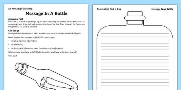 Message In A Bottle Activity Sheet, worksheet
