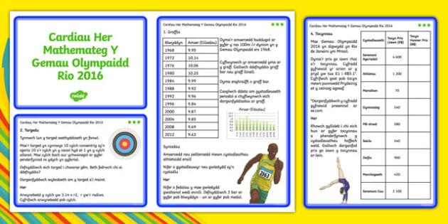Cardiau Her Mathemateg TCA2 Y Gemau Olympaidd Rio 2016 - welsh, cymraeg, cardiau her, mathemateg, gemau olympaidd